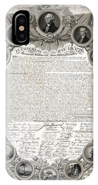 July 4 iPhone Case - Facsimile Of The Original Draft Of The Declaration Of Independence 1776 by American School
