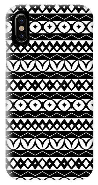 Tribal iPhone Case - Fair Isle Black And White by Rachel Follett
