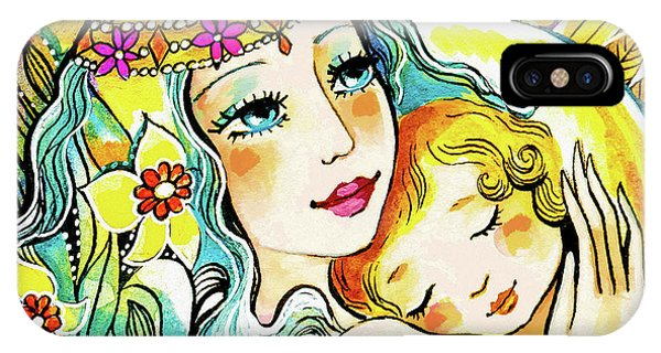 IPhone Case featuring the painting Fairy Mother And Angel Child by Eva Campbell