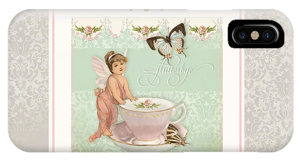 Bunting iPhone Case - Fairy Teacups - Flutterbye Butterflies And English Rose Damask by Audrey Jeanne Roberts
