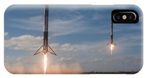 Moon iPhone Case - Falcon Heavy Double Sideboosters Landing by Filip Hellman