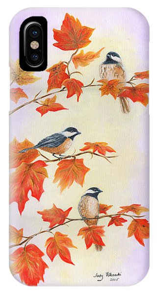 Fall Chickadees IPhone Case
