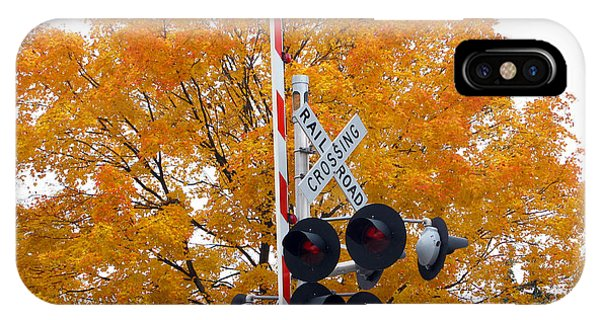 Railroad Signal iPhone Case - Fall Color At Railroad Crossing  5636 by Jack Schultz