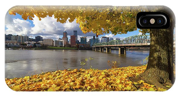 Fall Foliage With Portland Oregon City IPhone Case