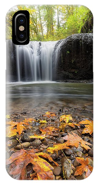 Fall Maple Leaves At Hidden Falls IPhone Case