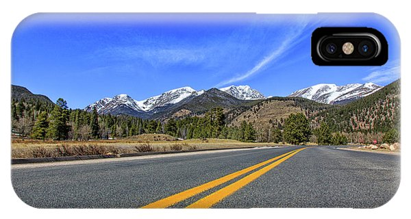 Fall River Road With Mountain Background IPhone Case