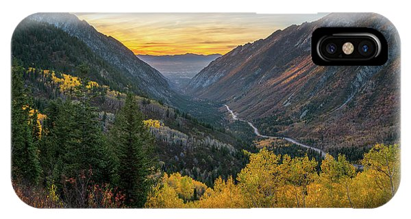 Fall Sunset In Little Cottonwood Canyon IPhone Case