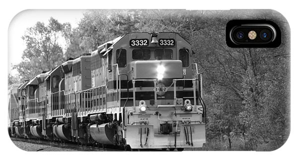 IPhone Case featuring the photograph Fall Train In Black And White by Rick Morgan