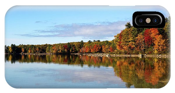 Fall Tree Reflections Lake Sabago Maine IPhone Case