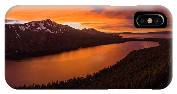 Fallen Leaf Lake Sunset Aerial By Brad Scott IPhone Case