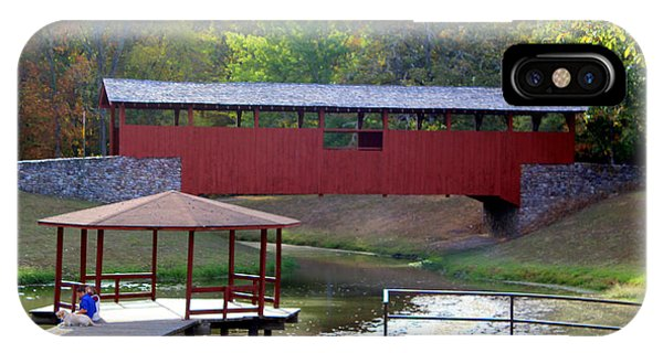 Water Ski iPhone Case - Falling For The Red Covered Bridge by Kathy  White