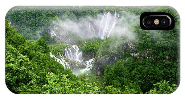 Falls Through The Fog - Plitvice Lakes National Park Croatia IPhone Case