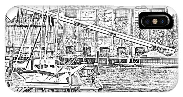 Vancouver City iPhone Case - False Creek And Grenville Island Sketch by Bob Corson