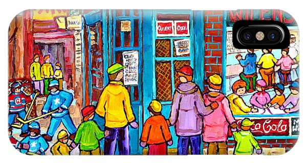 Family Day At Wilensky Lunch Counter Montreal Street Hockey Winter Scene Carole Spandau IPhone Case