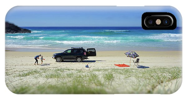 Family Day On Beach With 4wd Car  IPhone Case