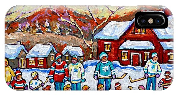 Family Skating Party Paintings Of Children Playing Canadian Country Winter Scene  Art Carole Spandau IPhone Case