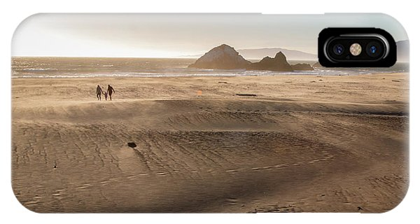 Family Walking On Sand Towards Ocean IPhone Case