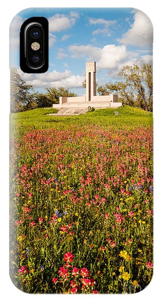 Fannin Monument And Memorial With Wildflowers In Goliad - Coastal Bend South Texas IPhone Case