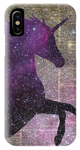 Mottled iPhone Case - Fantasy Unicorn In The Space by Anna W