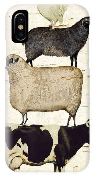 Cow iPhone X / XS Case - Farm Animals Pileup by Mindy Sommers