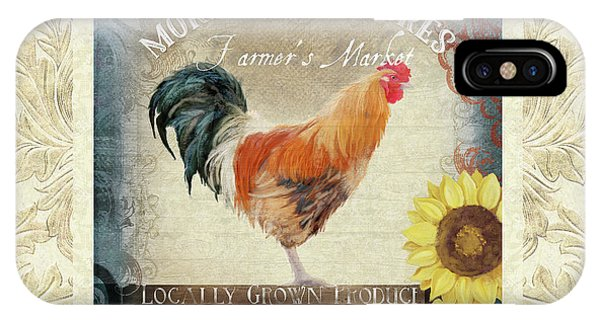 Barnyard iPhone Case - Farm Fresh Damask Barnyard Rooster Sunflower Square by Audrey Jeanne Roberts
