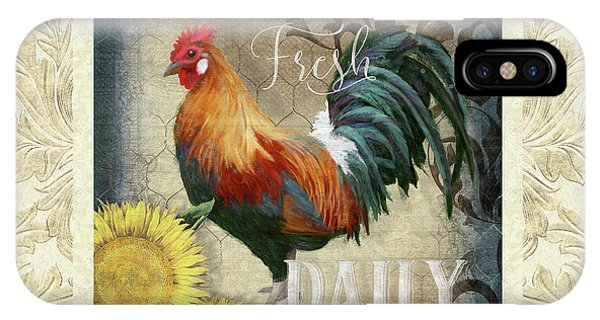 Barnyard iPhone Case - Farm Fresh Damask Red Rooster Sunflower by Audrey Jeanne Roberts