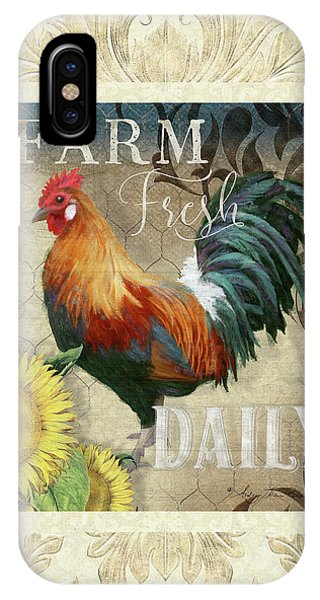 Barnyard Animals iPhone Case - Farm Fresh Damask Red Rooster Sunflower by Audrey Jeanne Roberts