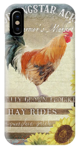 Barnyard Animals iPhone Case - Farm Fresh Morning Rooster Sunflowers Farmhouse Country Chic by Audrey Jeanne Roberts