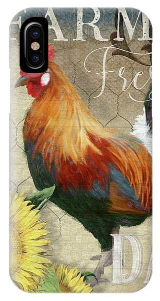 Barnyard Animals iPhone Case - Farm Fresh Red Rooster Sunflower Rustic Country by Audrey Jeanne Roberts