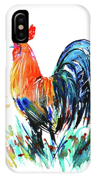 IPhone Case featuring the painting Farm Rooster by Zaira Dzhaubaeva