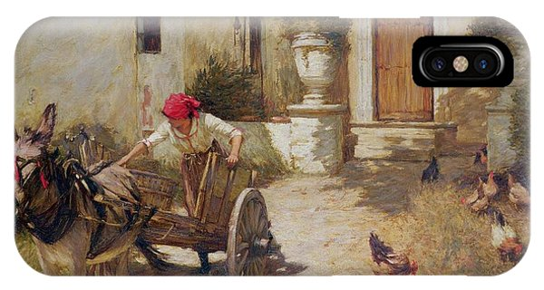 Yard iPhone Case - Farm Yard Scene by Henry Herbert La Thangue