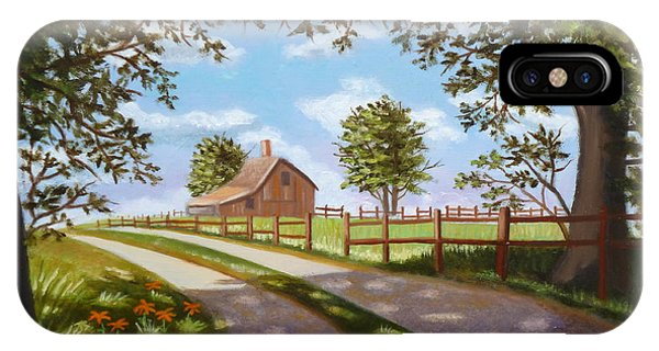 Farmhouse Framed By Trees IPhone Case