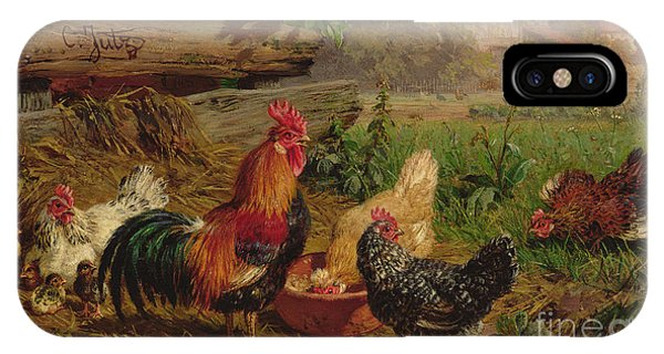 Yard iPhone Case - Farmyard Chickens by Carl Jutz