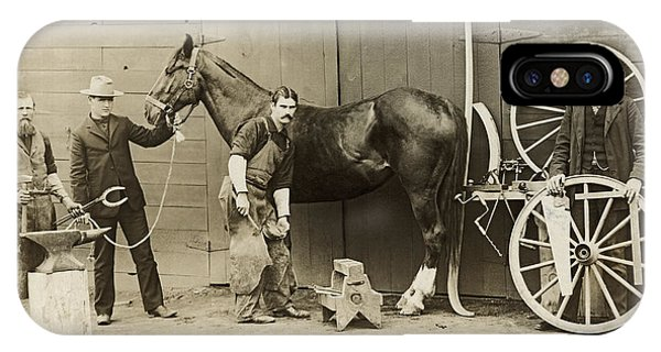 Anvil iPhone Case - Farrier Shoeing A Horse by Underwood Archives