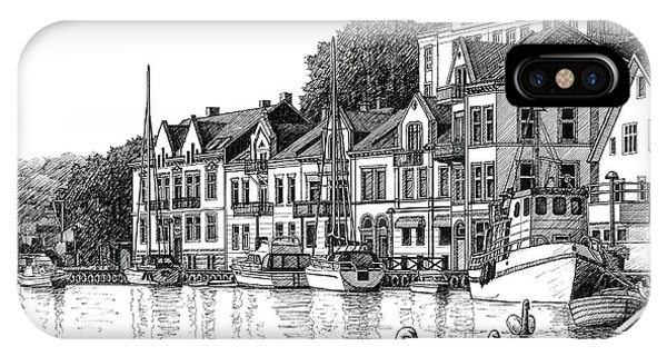 Farsund Harbor In Ink IPhone Case