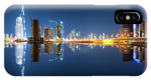 Fascinating Reflection Of Tallest Skyscrapers In Business Bay District During Calm Night. Dubai, United Arab Emirates. IPhone Case