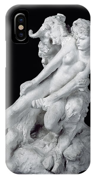 Minotaur iPhone Case - Faun And Nymph by Auguste Rodin