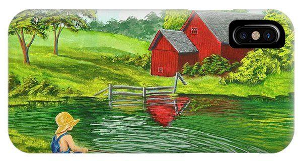 New England Barn iPhone Case - Favorite Fishing Hole by Charlotte Blanchard