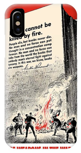 Germany iPhone Case - Fdr Quote On Book Burning  by War Is Hell Store