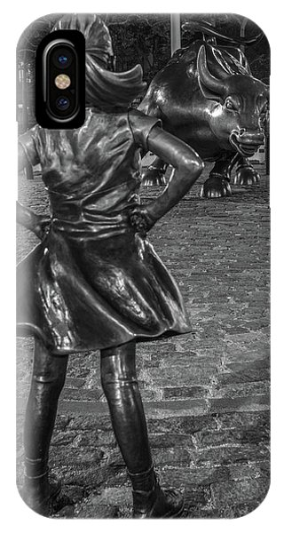 Fearless Girl And Charging Bull Nyc IPhone Case