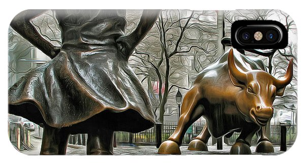 Fearless Girl And Wall Street Bull Statues 5 IPhone Case