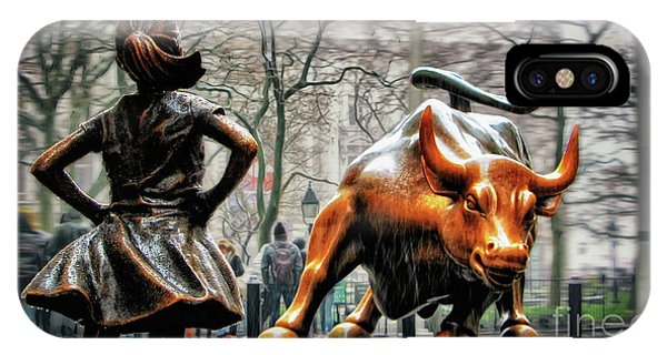 Bull iPhone Case - Fearless Girl And Wall Street Bull Statues by Nishanth Gopinathan