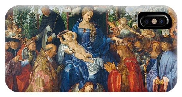 Albrecht Durer iPhone Case - Feast Of Rose Garlands by Albrecht Durer