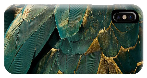 Feather Glitter Teal And Gold IPhone Case