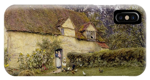 Fowl iPhone Case - Feeding The Fowls by Helen Allingham
