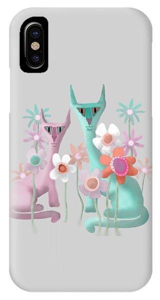 Felines In Flowers IPhone Case