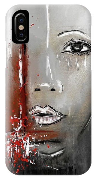 Female Half Face On Grey Abstract IPhone Case