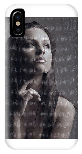 Female Portrait With Reptile Texture IPhone Case