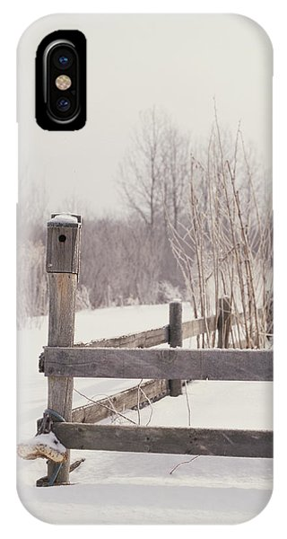 Fence And Birdhouse In The Snow Phone Case by Gillham Studios