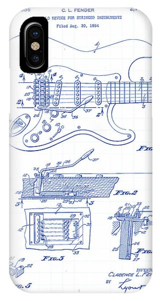 Vector iPhone Case - Fender Guitar Patent Drawing by Gary Grayson